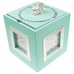 Baby Boy Personalised Christening Musical Photo Frame Keepsake Box