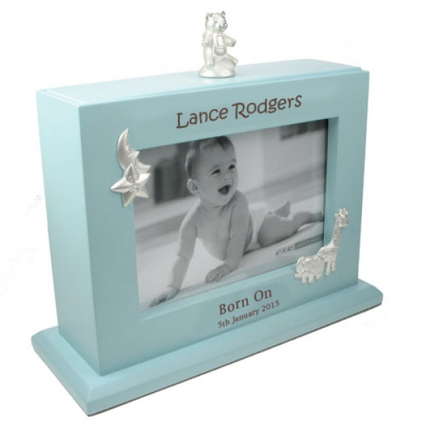 Personalised baby boy photoframe and album laser engraved the tot baby boy personalised album negle Choice Image